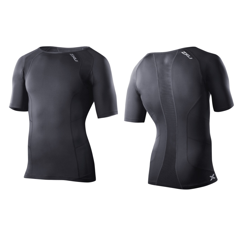 2XU vyriški kompresiniai marškinėliai S/S (JUODA/JUODA)