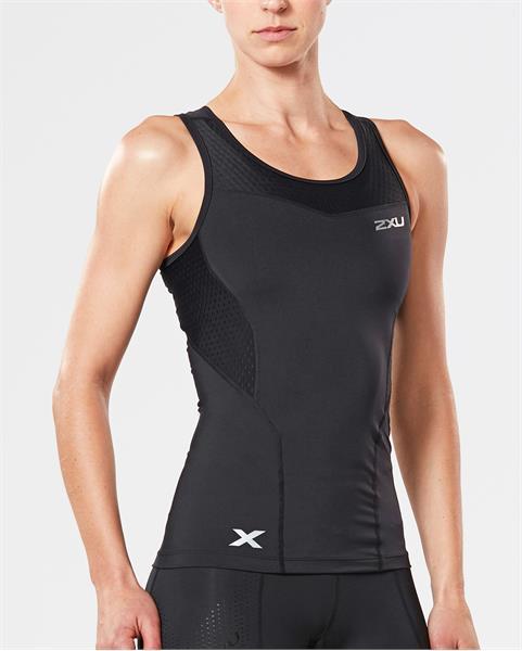 2XU moteriški kompresiniai marškinėliai Tank (JUODA)