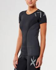 2XU ELITE moteriški kompresiniai marškinėliai S/S (JUODA/SIDABRINĖ)