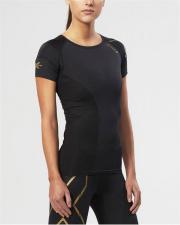 2XU ELITE moteriški kompresiniai marškinėliai S/S (JUODA/AUKSINĖ)