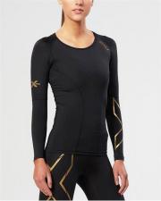 2XU ELITE moteriški kompresiniai marškinėliai L/S (JUODA/AUKSINĖ)